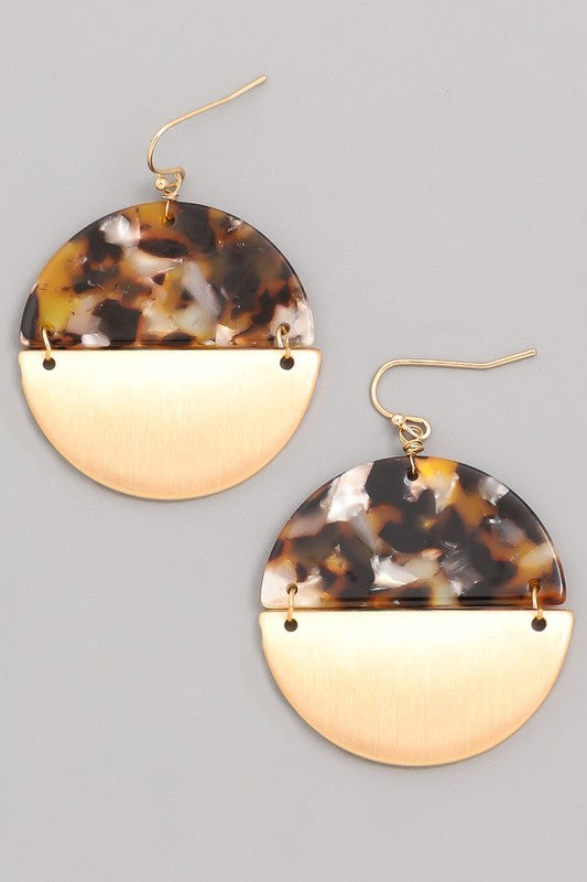 Rounded Half Tortoise Shell Half Metal Earrings - Beau&Arrow