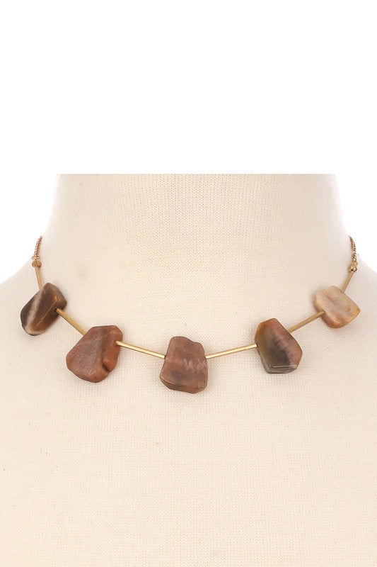 Semi Precious Square Stone Charm Necklace - Beau&Arrow