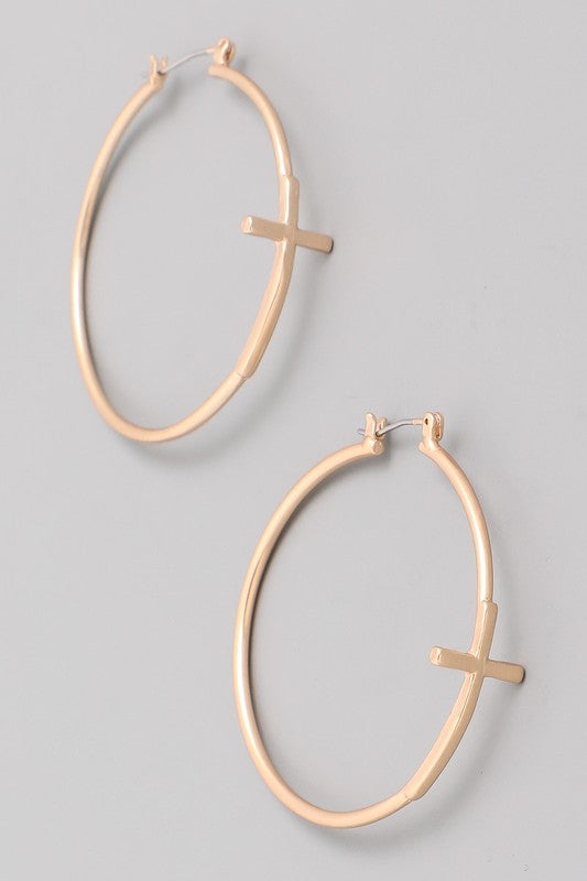 Cross Hoop Earrings - Beau&Arrow