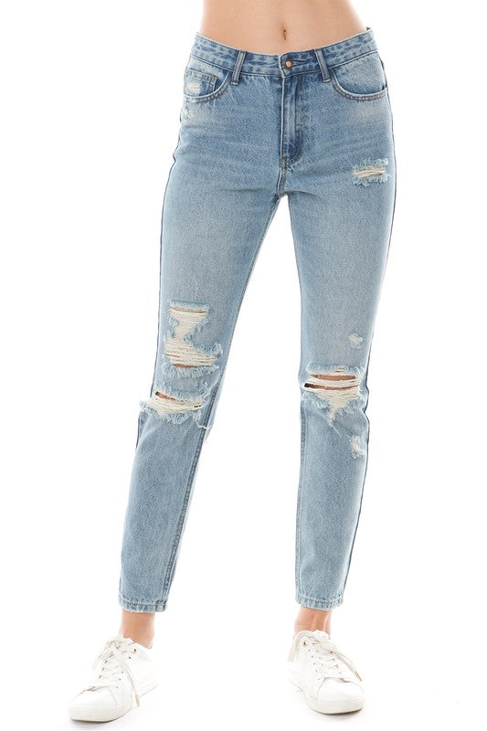 The Isla Lightwash Distressed Denim - Beau&Arrow
