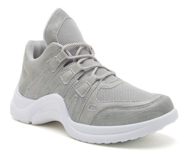 Grey Snakeskin Dad Sneakers - Beau&Arrow