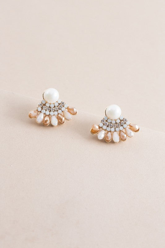 Talia Pearl Fan Earrings - Beau&Arrow