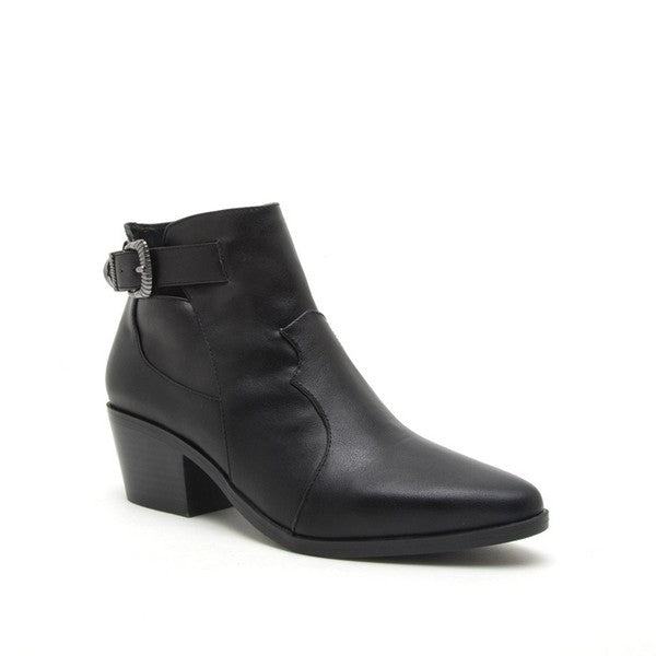 Classic Western Buckle Black Booties - Beau&Arrow
