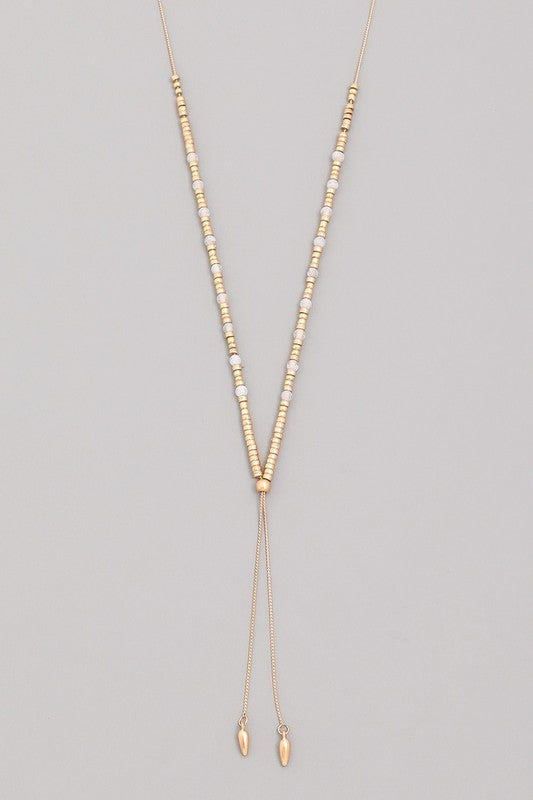 Beaded Lariat Necklace - Beau&Arrow