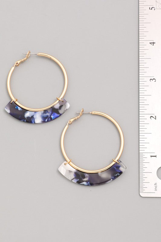 Tortoise Shell Fringe Hoop Earrings