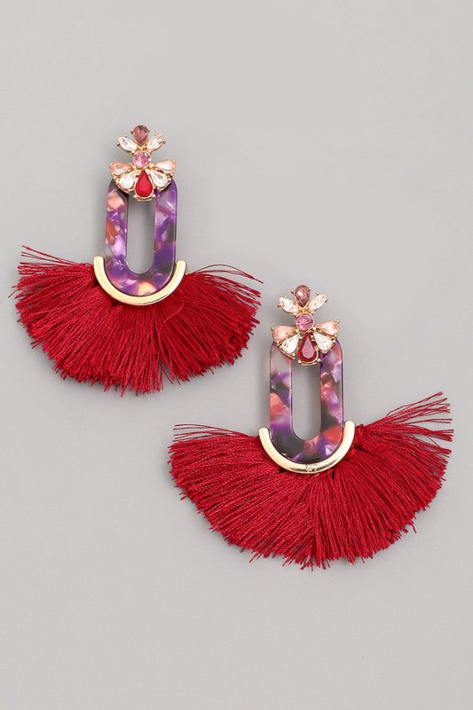 Acetate Oval Tassel Fringe Drop Earrings - Beau&Arrow