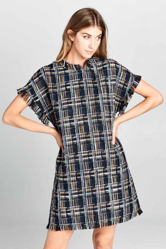 Navy Tweed Shift Dress - Beau&Arrow