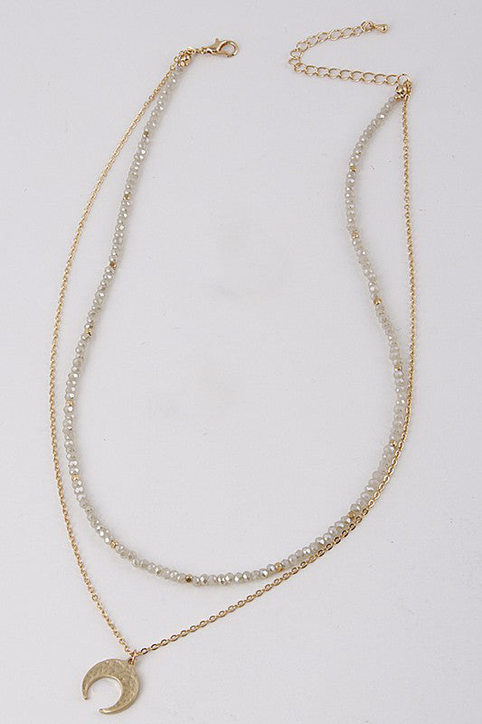 Layered Necklace With Crescent Detail - Beau&Arrow