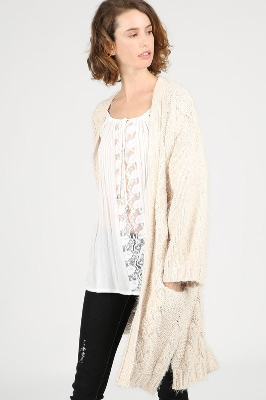 Oversized Cozy Cable Knit Cardigan