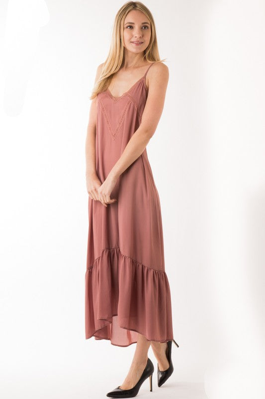The Melissa Mauve Midi Slip Dress