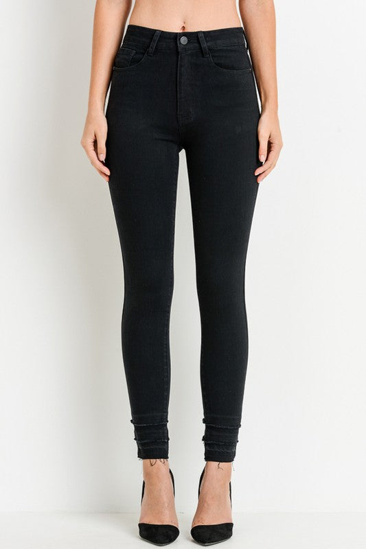 High Waist Black Cropped Denim - Beau&Arrow