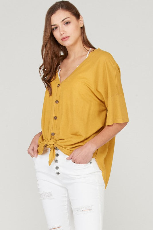 HALF SLEEVE BUTTON DOWN FRONT TIE TOP - Beau&Arrow