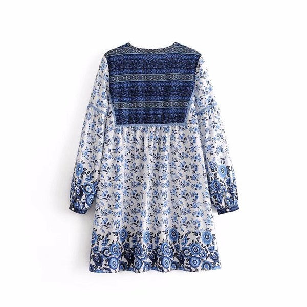 Blue Printed Shift Dress - Beau&Arrow
