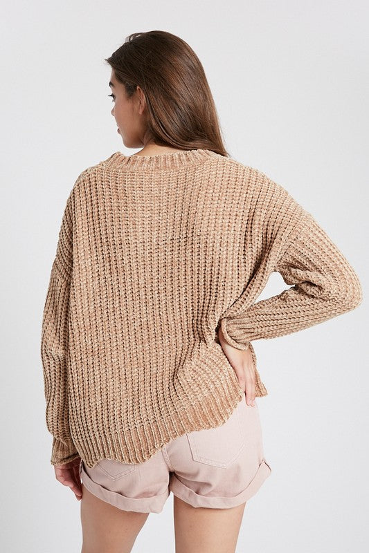 The Catie Chenille Scalloped Hem Sweater - Beau&Arrow