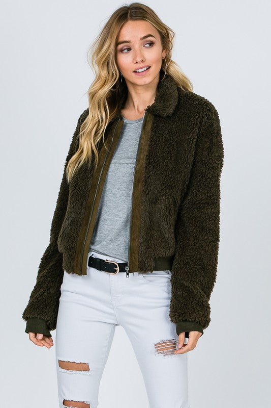 Faux Fur Bomber Jacket - Beau&Arrow