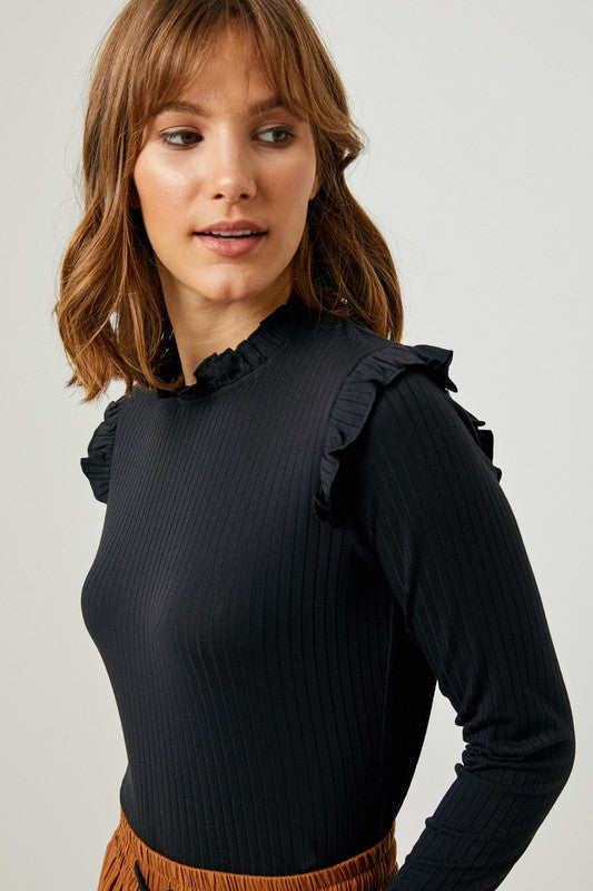 The Brielle Ruffle Sleeve Top - Beau&Arrow