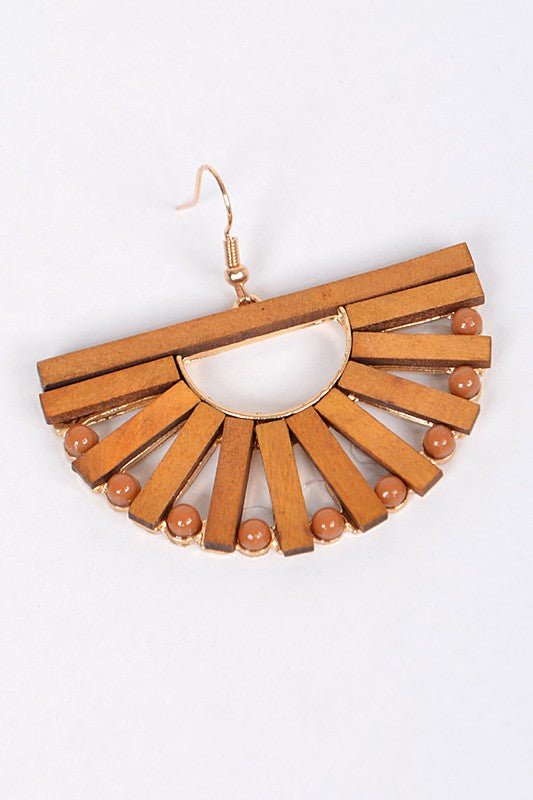 Wooden Fan Earrings