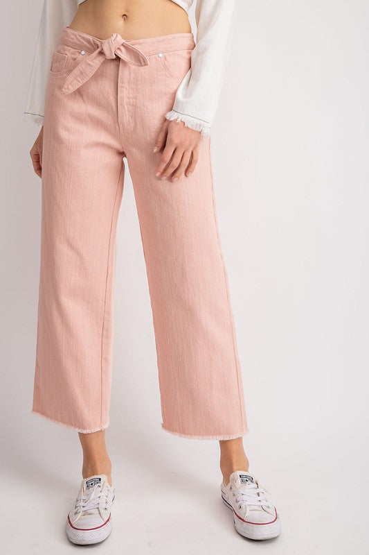 The Phoebe Pink Cropped Flares