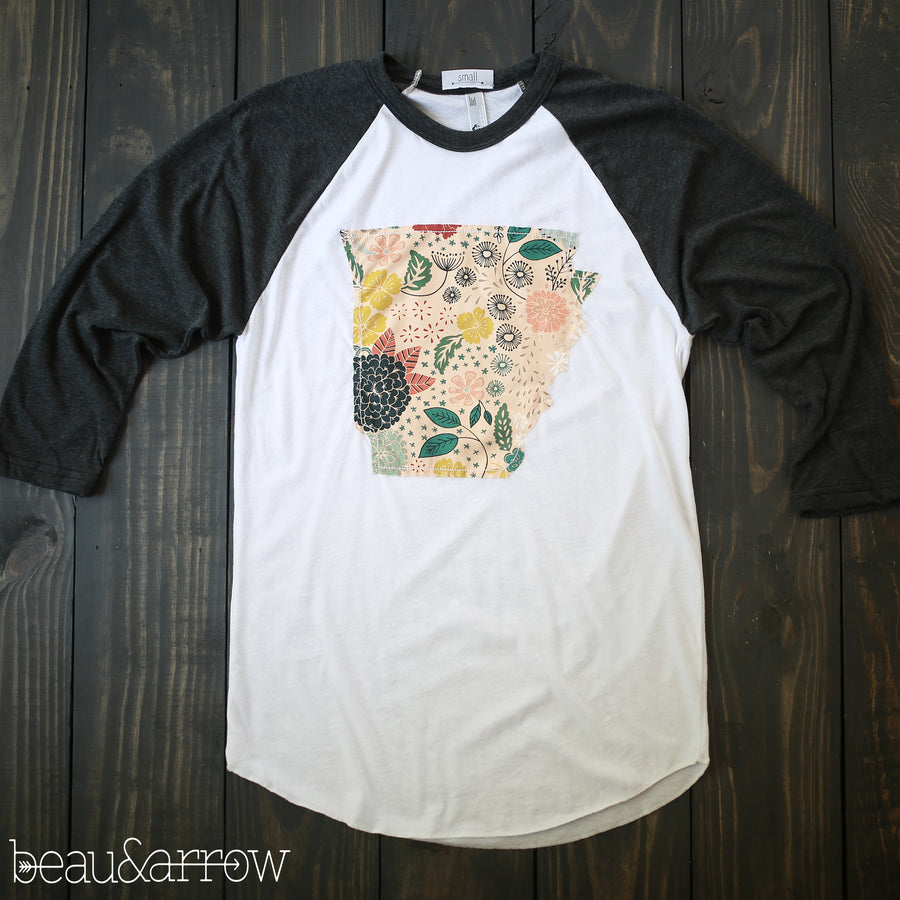 Arkansas Outline Baseball Tee-In Bloom