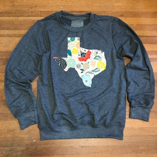 Texas Outline Charcoal Pullover-In Bloom - Beau&Arrow