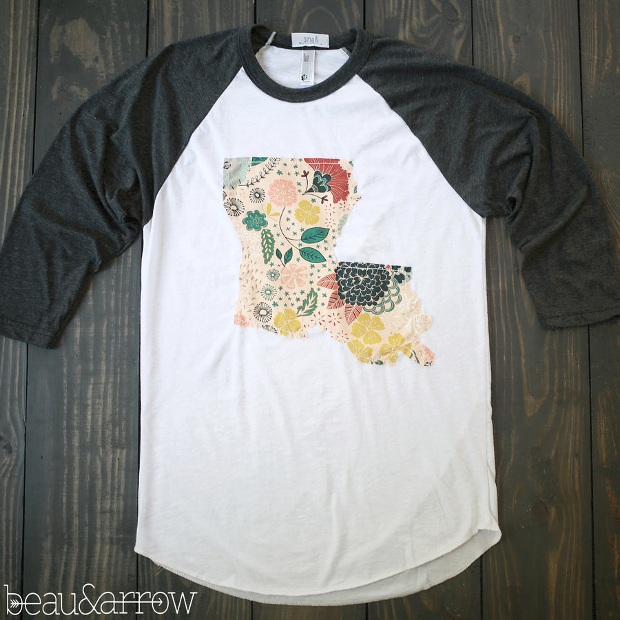Louisiana Outline Baseball Tee-In Bloom
