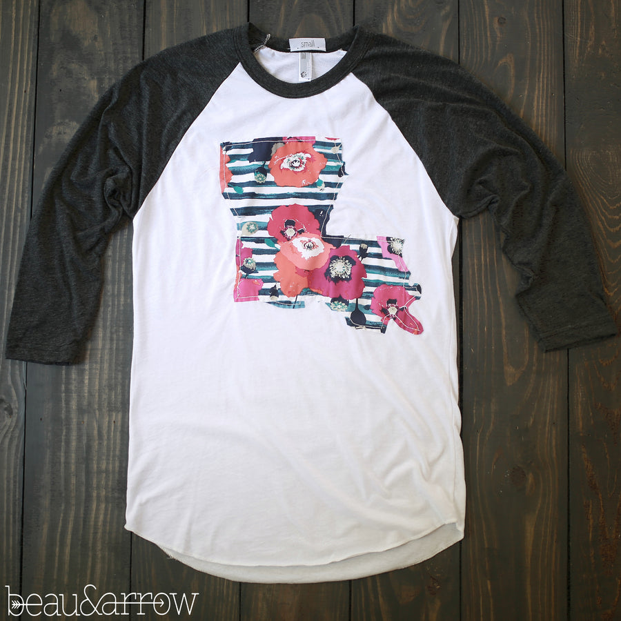 Louisiana Outline Baseball Tee-Preppy Chic