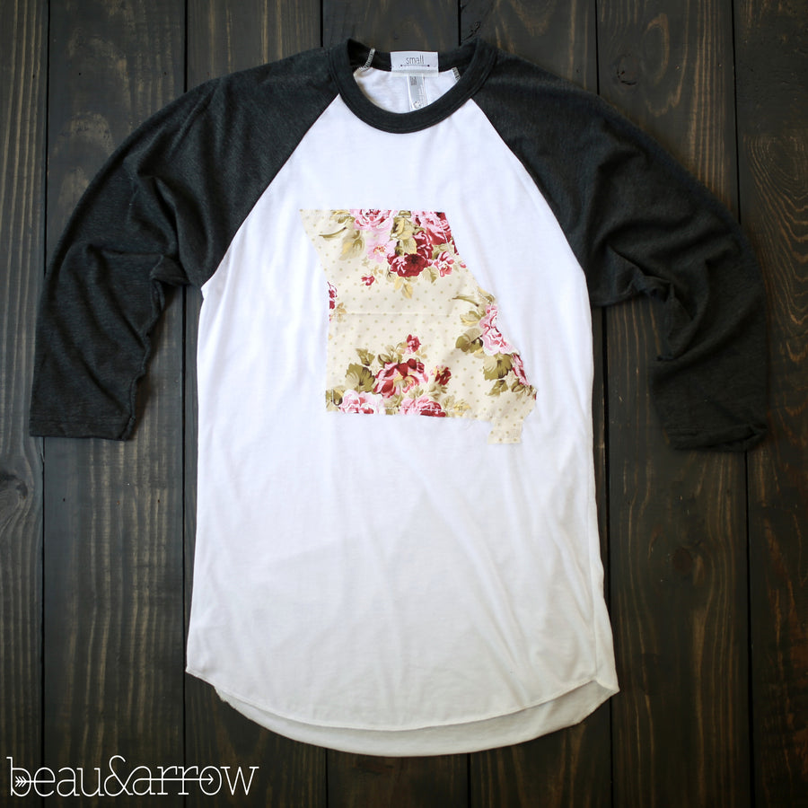 Missouri Outline Baseball Tee-Shabby Chic