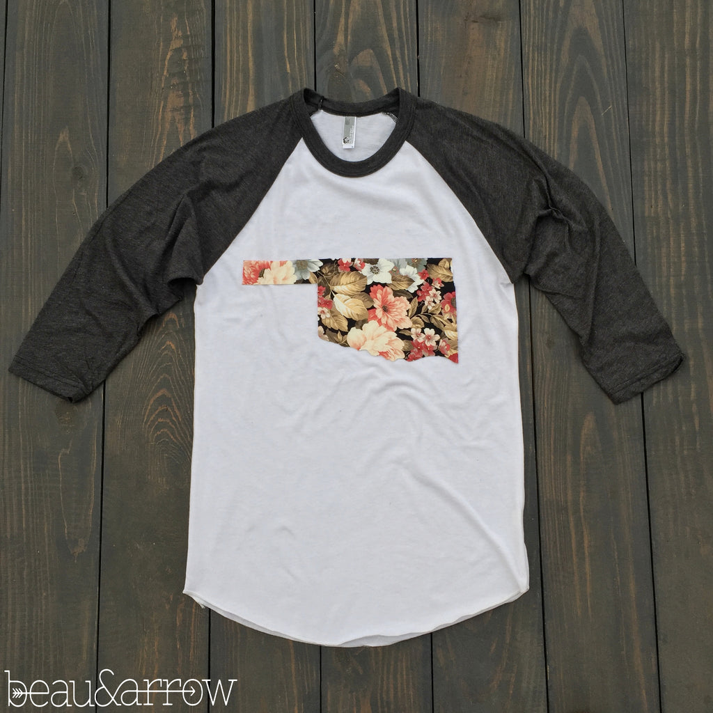 State Outline White Baseball Tee - Beau&Arrow