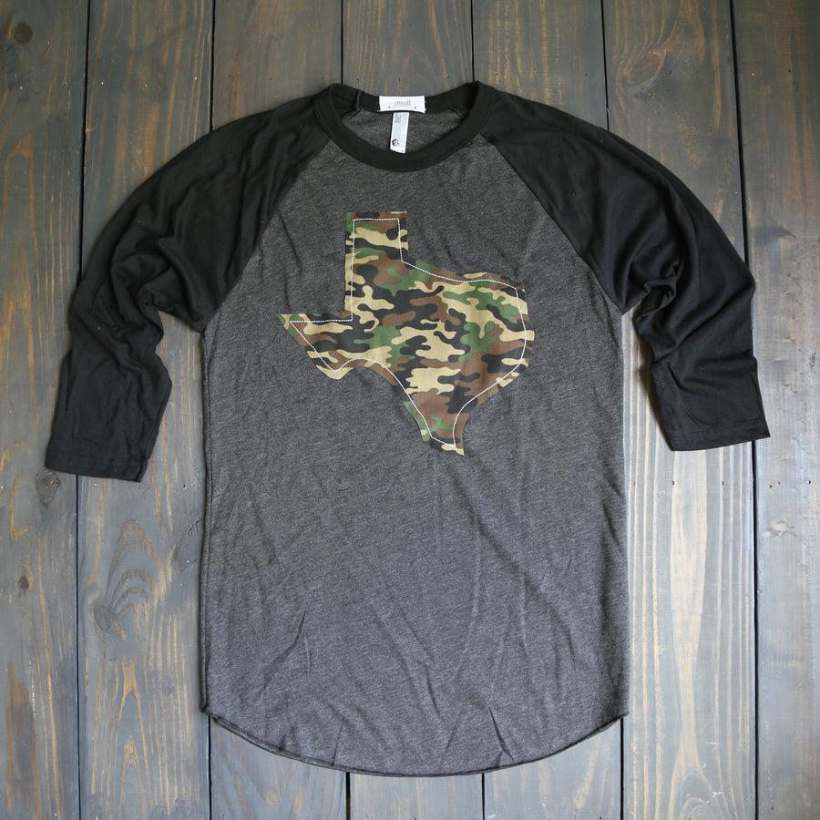 Texas Outline Charcoal Baseball Tee-Camo (Ships June 1st)