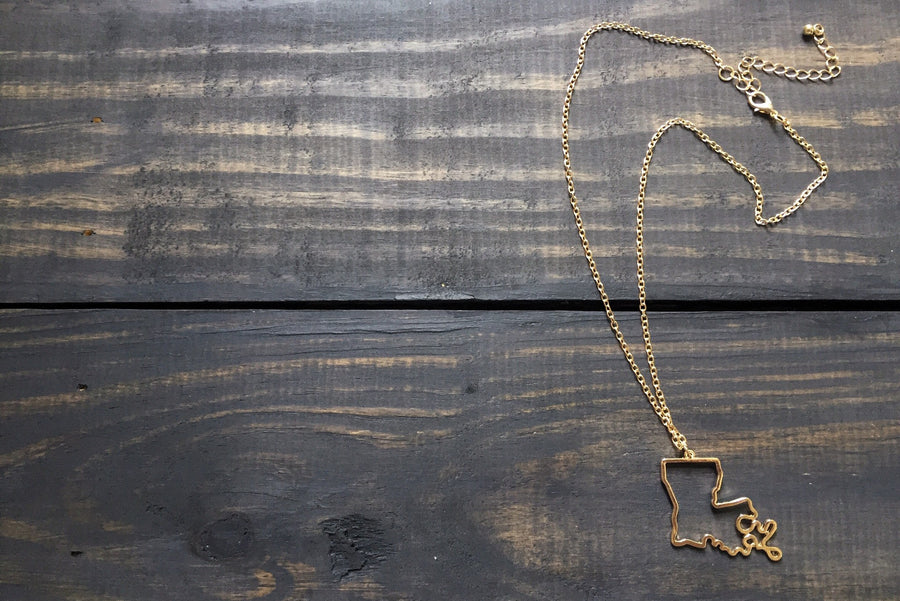 Accessories - Louisiana Outline Necklace