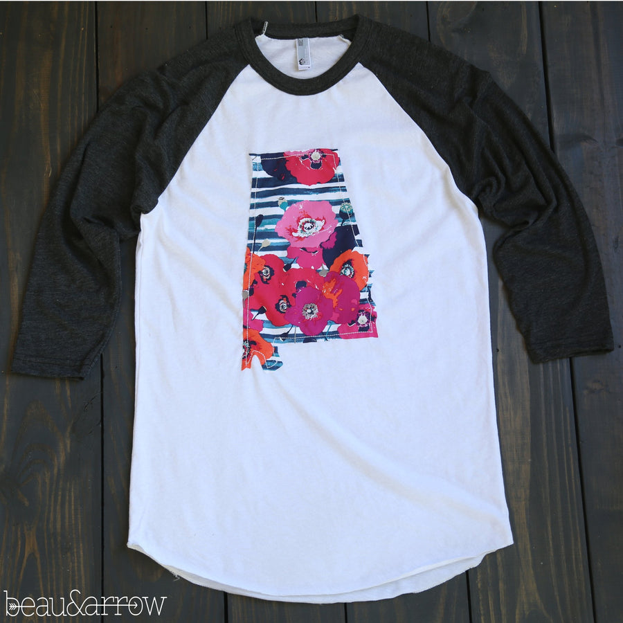 Alabama Apparel - Alabama Outline Baseball Tee-Preppy Chic