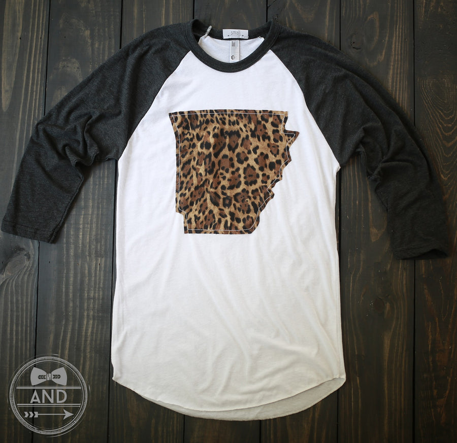 Arkansas Apparel - Arkansas Outline Baseball Tee-Call Of The Wild