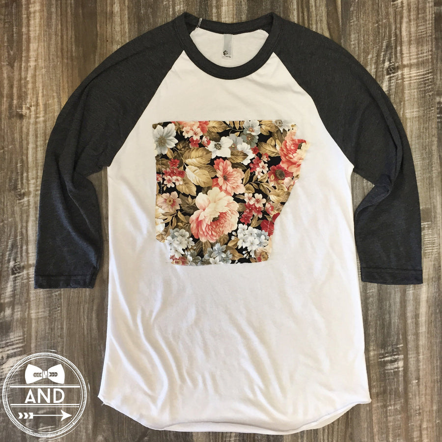 Arkansas Apparel - Arkansas Outline Baseball Tee-Floral