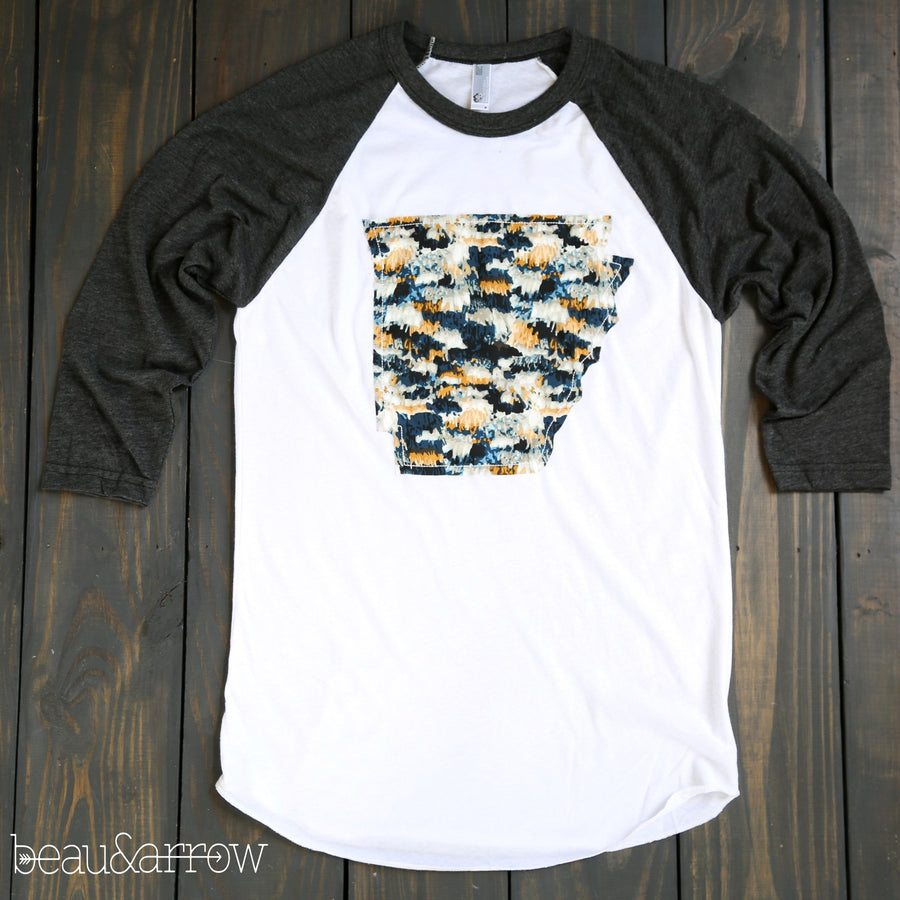 Arkansas Apparel - Arkansas Outline Baseball Tee-Midnight Macrame