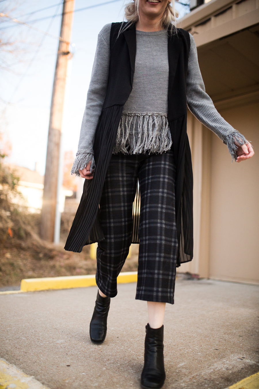 Check Me Out Plaid Culotte Pants
