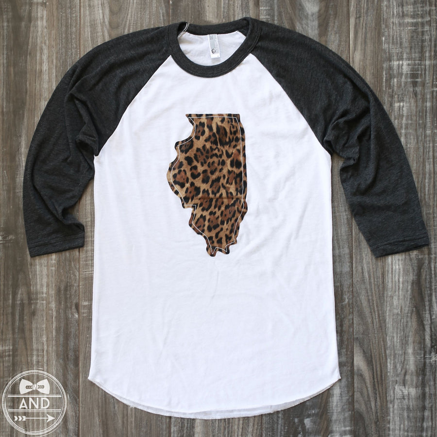 Illinois Apparel - Illinois Outline Baseball Tee-Call Of The Wild
