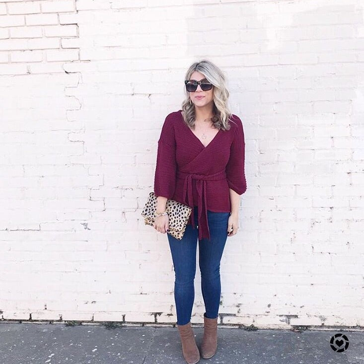 Crossover Bow Wrap Sweater Top - Beau&Arrow
