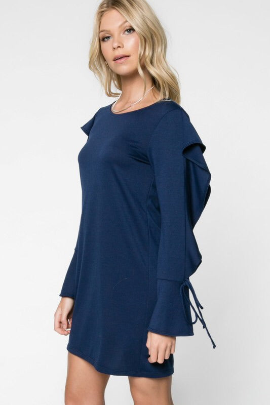 Navy Ruffle Sleeve Shift Dress