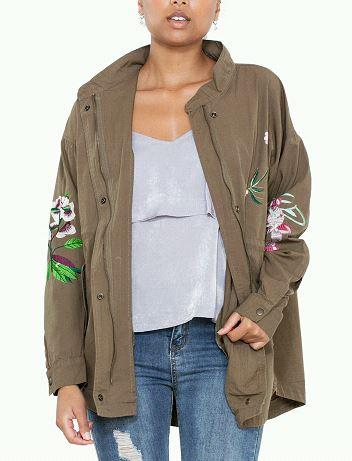 The Jenna Olive Floral Jacket - Beau&Arrow
