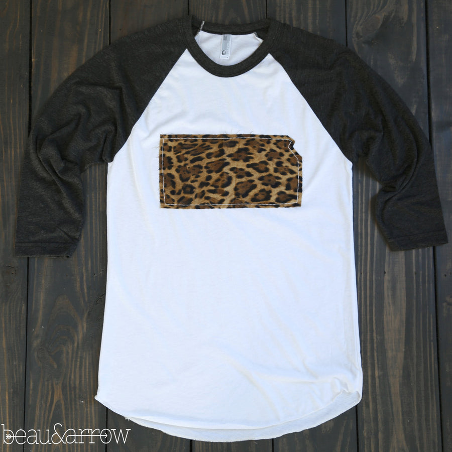 Kansas Apparel - Kansas Outline Baseball Tee-Call Of The Wild