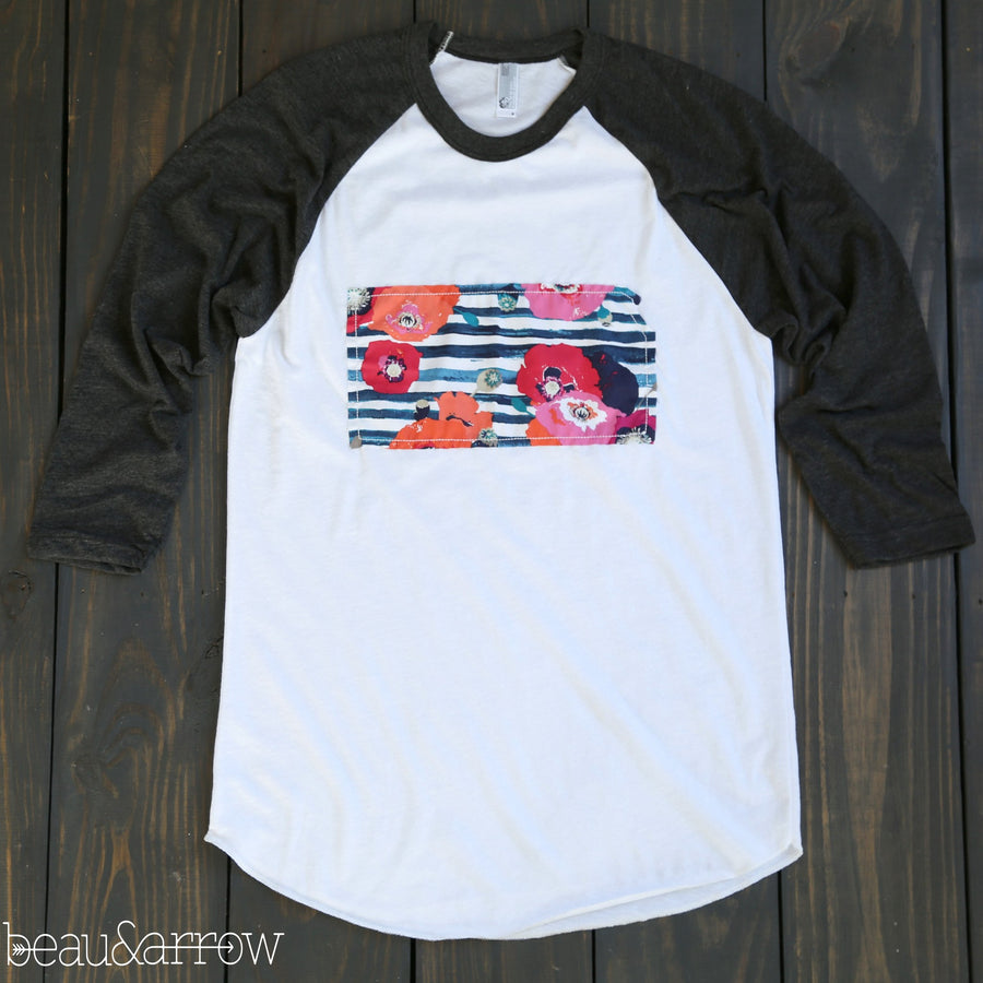 Kansas Apparel - Kansas Outline Baseball Tee-Preppy Chic
