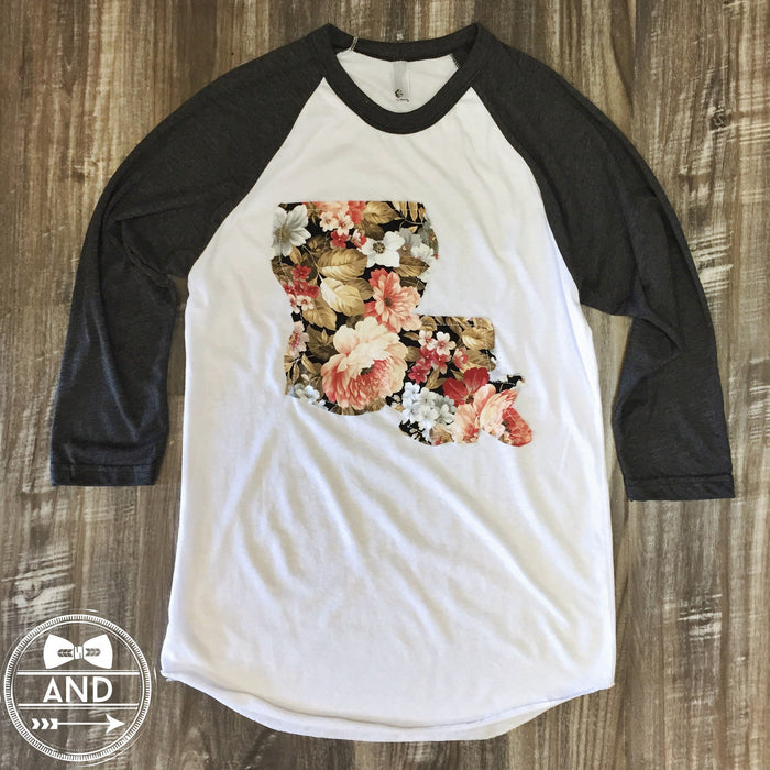 Louisiana Apparel - Louisiana Outline Baseball Tee-Floral