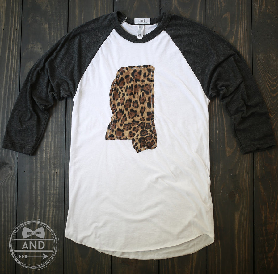 Mississippi Apparel - Mississippi Outline Baseball Tee-Call Of The Wild
