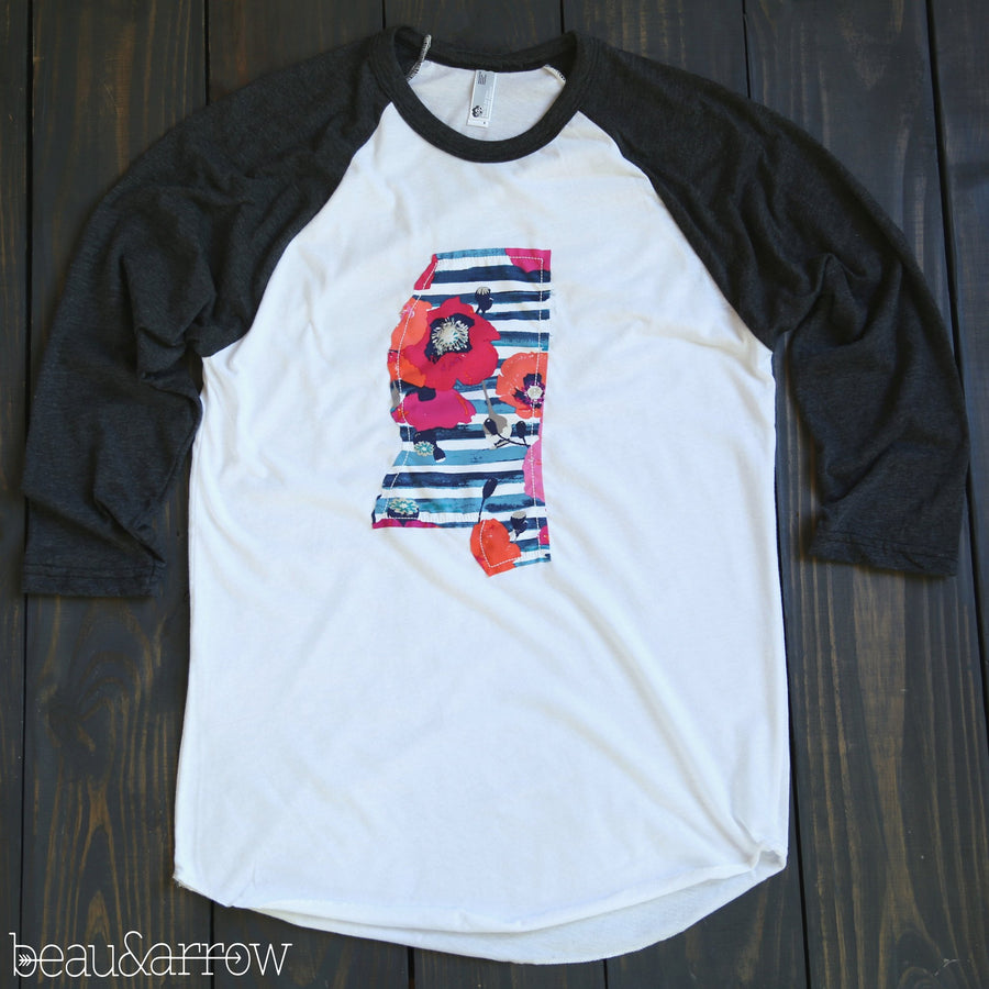 Mississippi Apparel - Mississippi Outline Baseball Tee-Preppy Chic