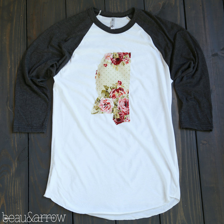 Mississippi Apparel - Mississippi Outline Baseball Tee-Shabby Chic