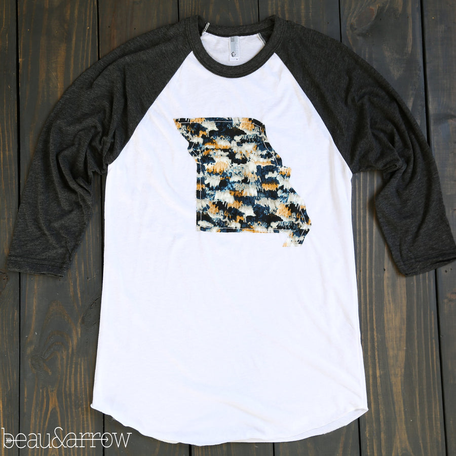 Missouri Apparel - Missouri Outline Baseball Tee-Midnight Macrame