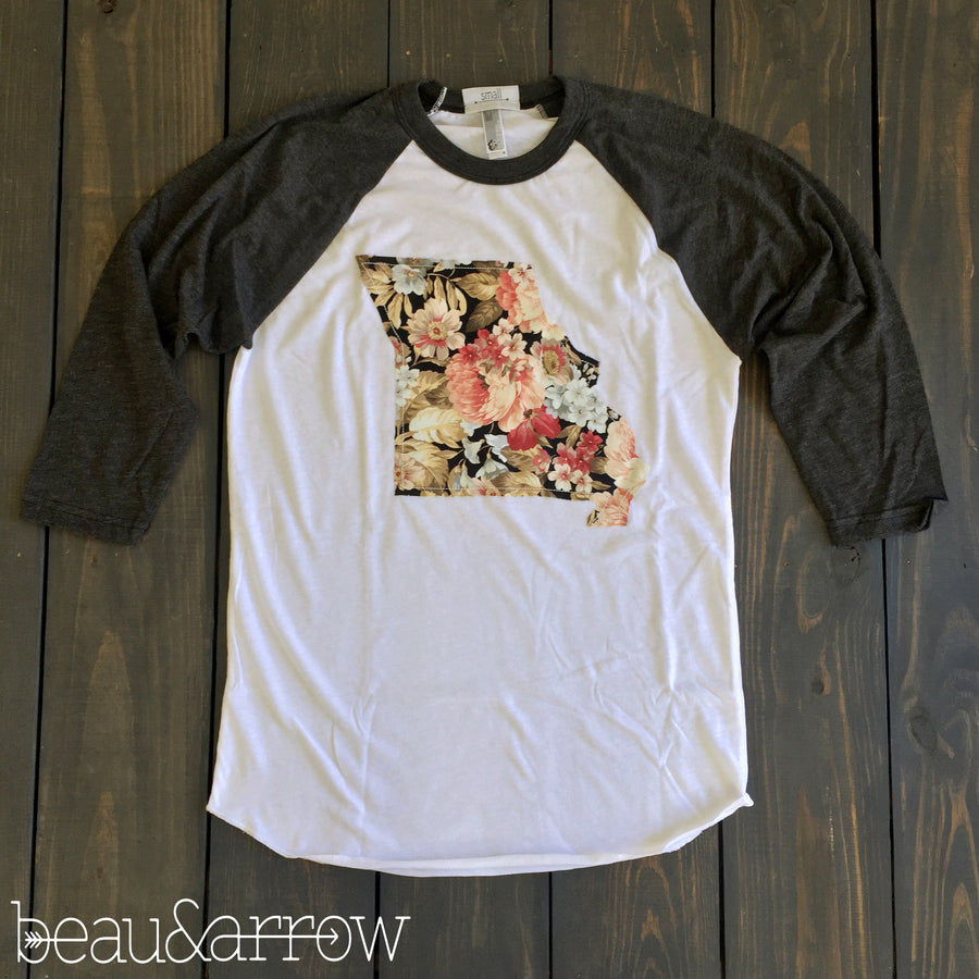 Missouri Outline Baseball Tee-Floral