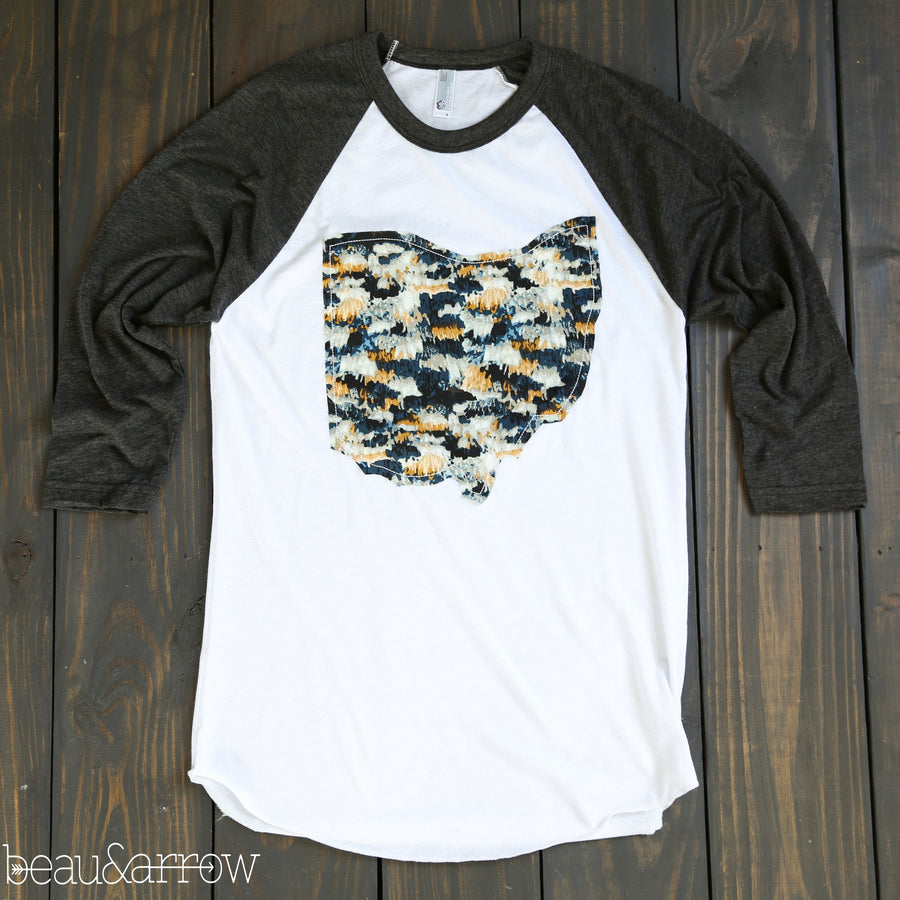 Ohio Apparel - Ohio Outline Baseball Tee-Midnight Macrame