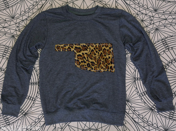 Oklahoma Apparel - Oklahoma Outline Charcoal Pullover-Call Of The Wild