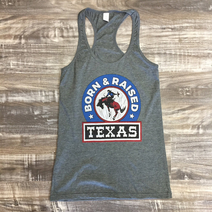 "Texas ""Born & Raised"" Racerback Tank"